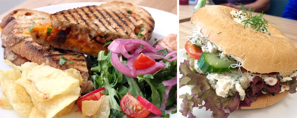 Grilled vegan sandwiches & bagels at Delivore